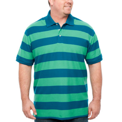 The Foundry Big & Tall Supply Co. Easy Care Quick Dry Short Sleeve Stripe Knit Polo Shirt Big and Tall