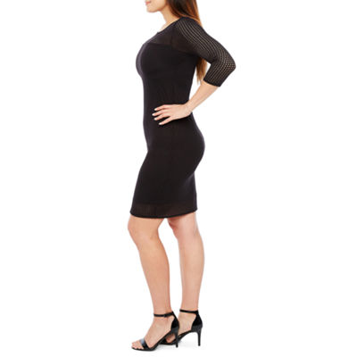 Bold Elements 3/4 Sleeve Perforated Bodycon Dress