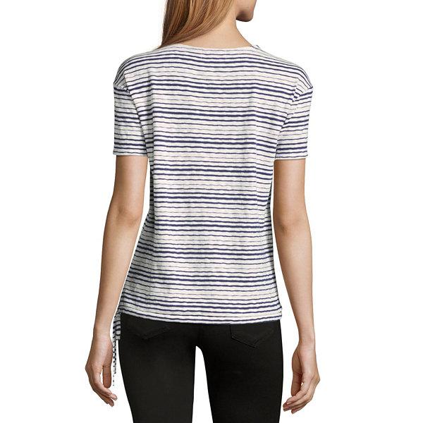 Liz claiborne short sleeve v neck stripe t shirt womens for Liz claiborne v neck t shirts