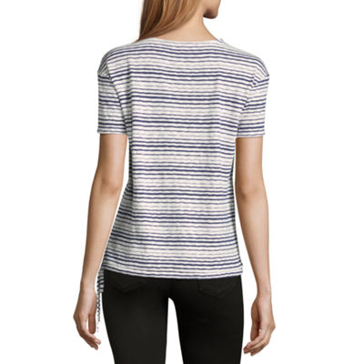 Liz Claiborne Short Sleeve V Neck Stripe T-Shirt-Womens