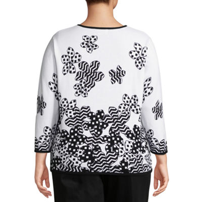 Alfred Dunner Upper East Side Floral Dot Border Sweater- Plus