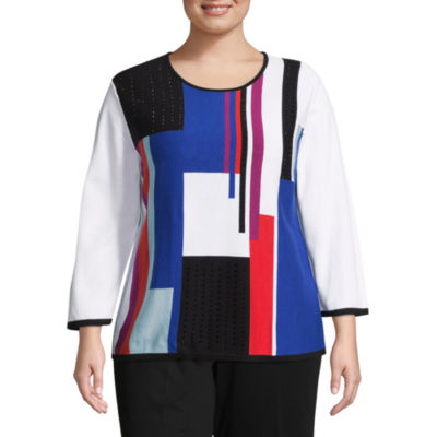 Alfred Dunner Upper East Side Colorblock Sweater- Plus