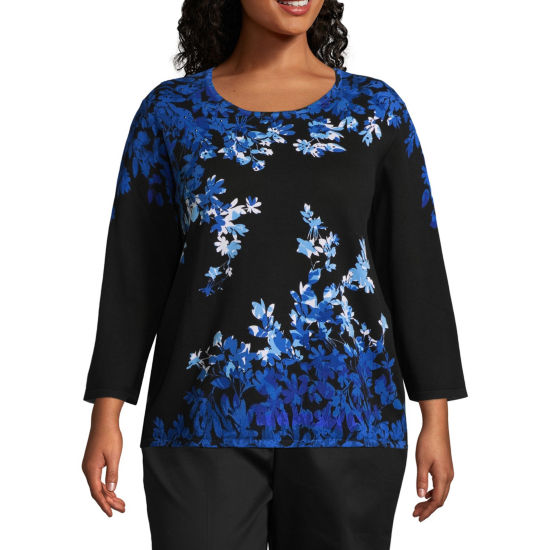 Alfred Dunner Upper East Side Floral Sweater- Plus