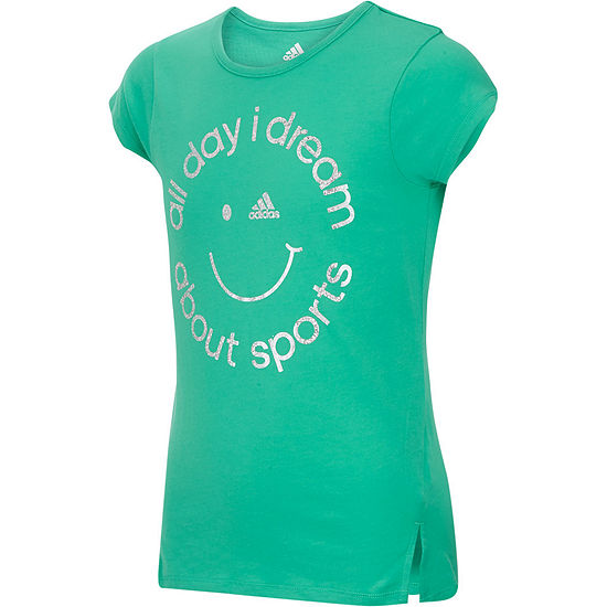 adidas Girls Round Neck Short Sleeve Graphic T-Shirt-Big Kid - JCPenney 0761d1d9e