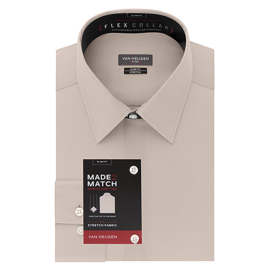 Van Heusen Made To Match Mens Point Collar Long Sleeve Wrinkle Free Stretch Dress Shirt - Slim