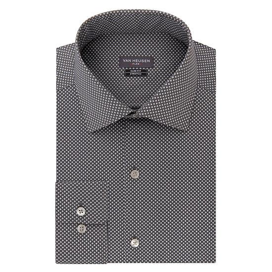 Van Heusen Made To Match Mens Spread Collar Long Sleeve Wrinkle Free Stretch Dress Shirt - Slim