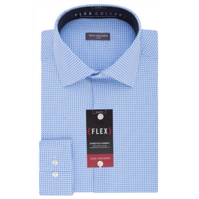 Van Heusen Wrinkle-Free Flex Collar Stretch Long Sleeve Twill Squares Dress Shirt - Slim