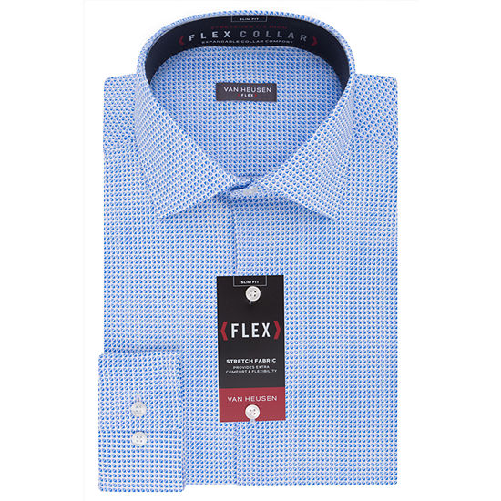 Van Heusen Wrinkle-Free Flex Collar Mens Spread Collar Long Sleeve Stretch Dress Shirt - Slim