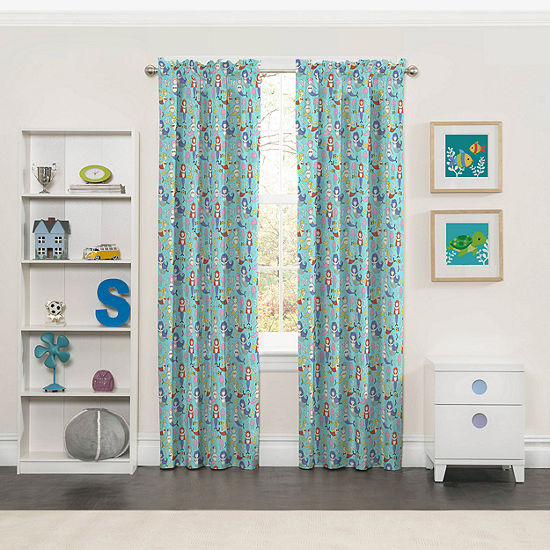 Eclipse Magical Mermaids Blackout Rod-Pocket Single Curtain Panel