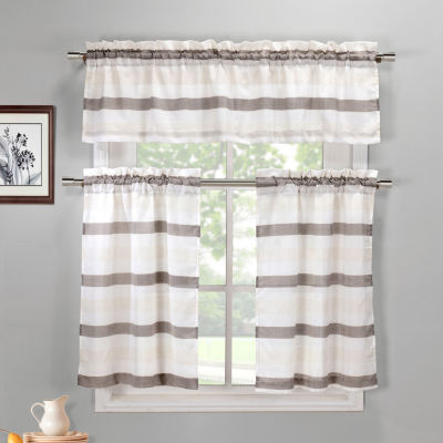 Duck River Akua 3 Piece Tiers Kitchen Curtain