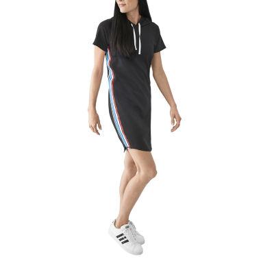 Xersion Stripe Short Sleeve Hoodie Dress