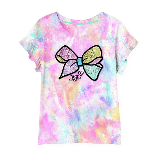 Jojo Siwa Little & Big Girls Embellished Crew Neck JoJo Siwa Short Sleeve Graphic T-Shirt