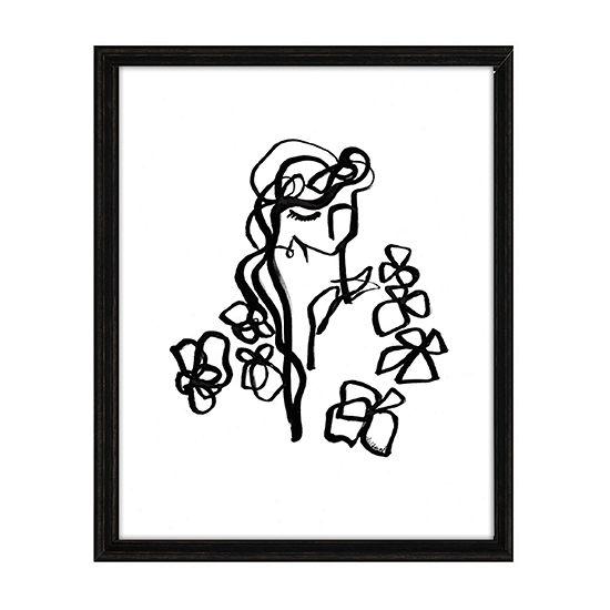 Masterpiece Art Gallery Flower Girl Black White Line Canvas Art