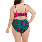 Decree Side Tie Womens Animal One Piece Swimsuit Juniors Plus