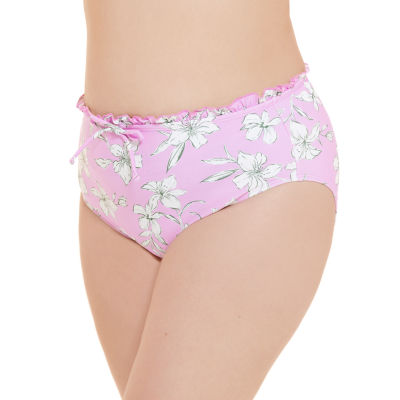 Decree Ruffle Womens Floral High Waist Bikini Swimsuit Bottom Juniors Plus
