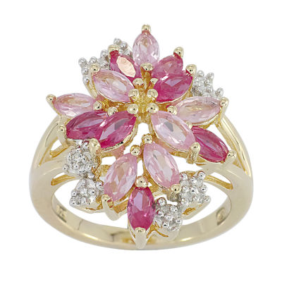 14K Gold over Silver Lab-Created Ruby and Pink & White Lab-Created Sapphire Flower Ring