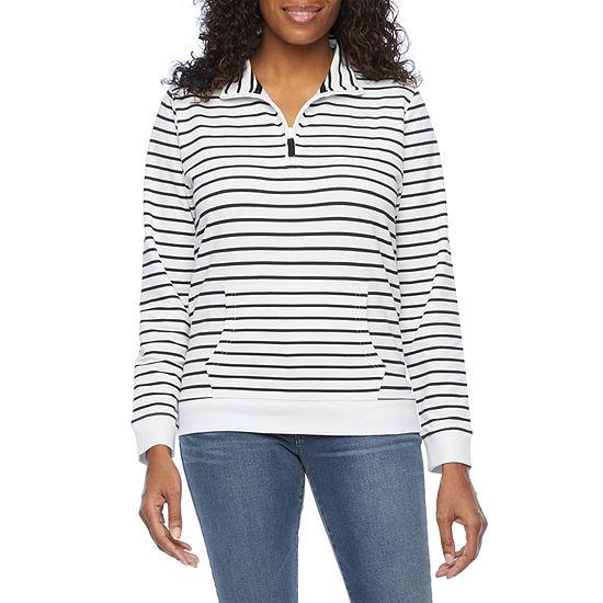 St. John's Bay Womens Long Sleeve Quarter-Zip Pullover