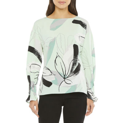 Worthington Womens Boat Neck Long Sleeve Blouse