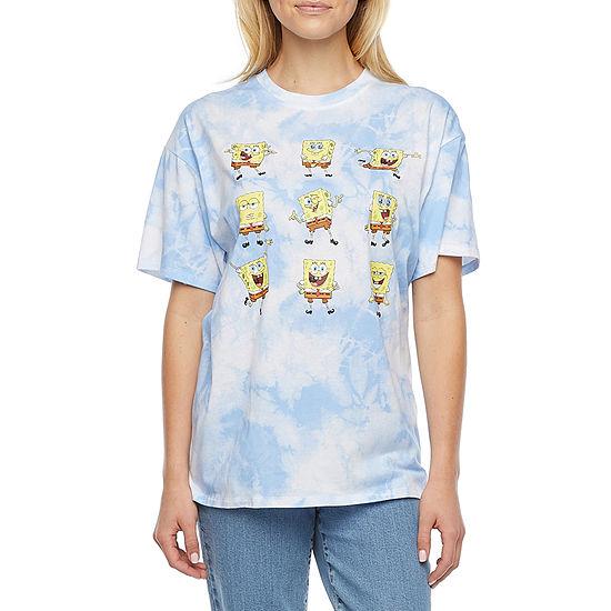 Juniors Womens Crew Neck Short Sleeve Spongebob Graphic T-Shirt
