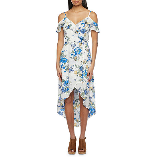 Byer California-Juniors Short Sleeve Floral High-Low Wrap Dress