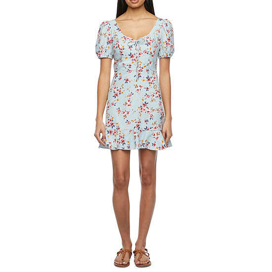 City Triangle-Juniors Short Sleeve Floral Fit & Flare Dress