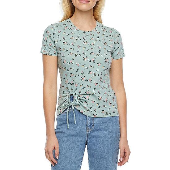 Belle Du Jour Juniors Womens Crew Neck Short Sleeve T-Shirt