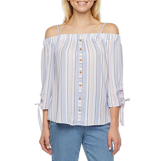 by&by-Juniors Womens Square Neck 3/4 Sleeve Blouse