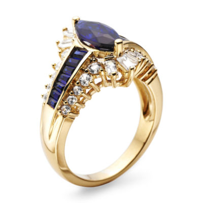 Blue & White Sapphire Lab-Created 14K Gold Over Silver Cocktail Ring