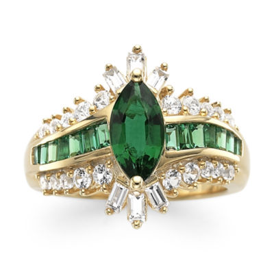 Lab-Created Emerald & Lab-Created White Sapphire 14K Gold Over Silver Cocktail Ring