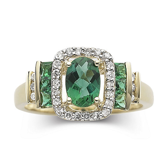 1/7 CT. T.W. Diamond & Genuine Emerald 10K Gold Ring