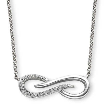 Infinite Promise 1/10 CT. T.W. Diamond Sterling Silver Infinity Pendant Necklace