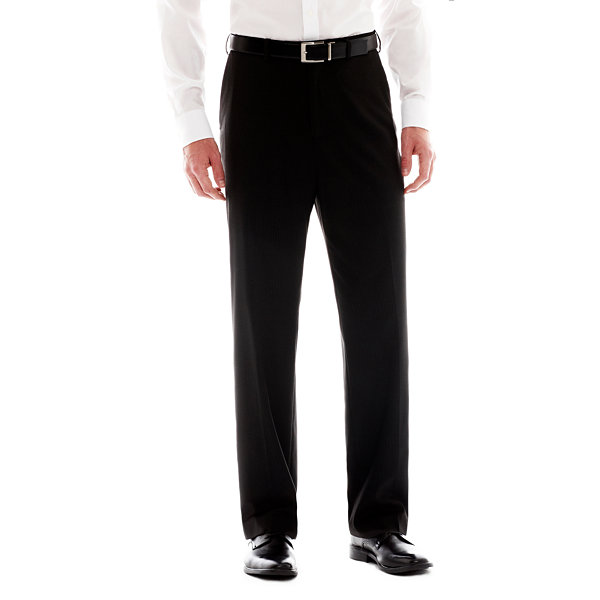 IZOD® Black Striped Flat-Front Suit Pants