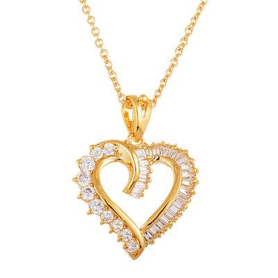 Sparkle Allure™ Openwork Heart Cubic Zirconia Pendant Necklace