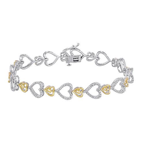 ForeverMine® 1/10 CT. T.W. Diamond Two-Tone Heart Link Bracelet