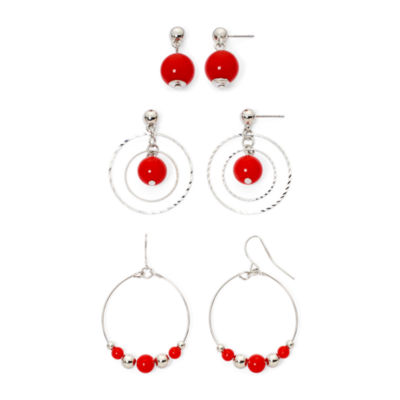 Mixit™ Red Silver-Tone 3-pr. Drop Earrings Set