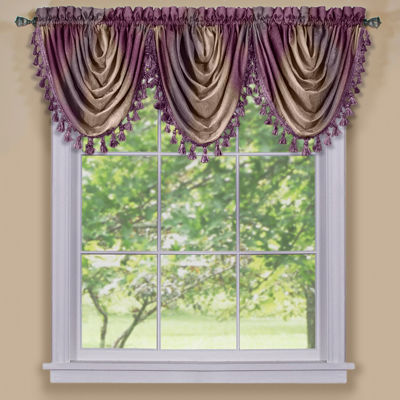 Ombre Rod-Pocket Waterfall Valance
