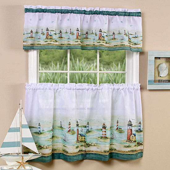 Hamptons Print Rod-Pocket Window Tier and Valance Set