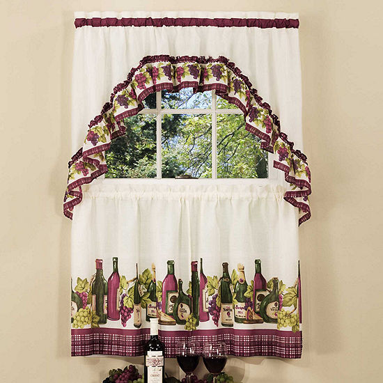 Chardonnay Printed Rod-Pocket Window Tier and Swag Valance Set