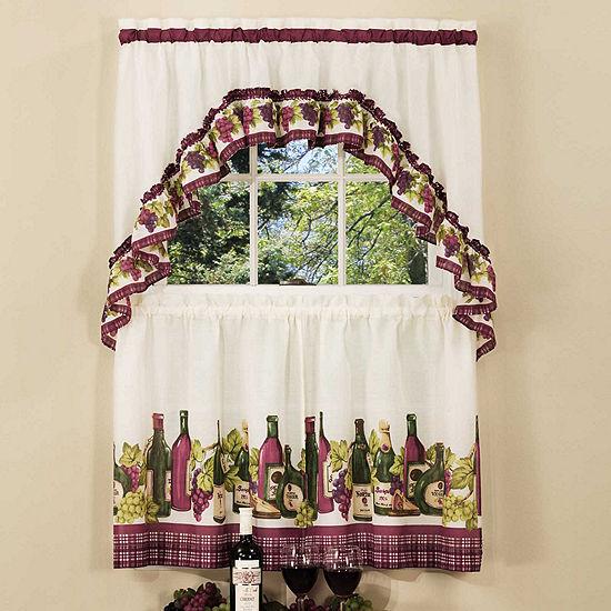 Chardonnay Printed 3-pc. Rod-Pocket Kitchen Curtain Set