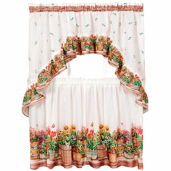 Country Garden Rod Pocket Window Tier And Swag Valance Set