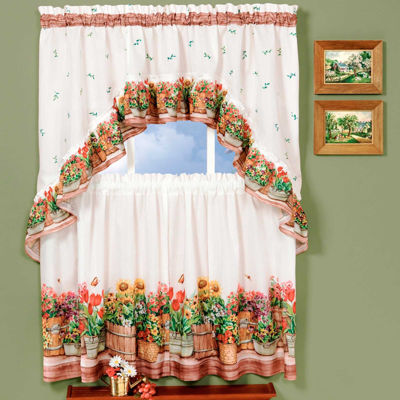 Country Garden Rod-Pocket Window Tier and Swag Valance Set