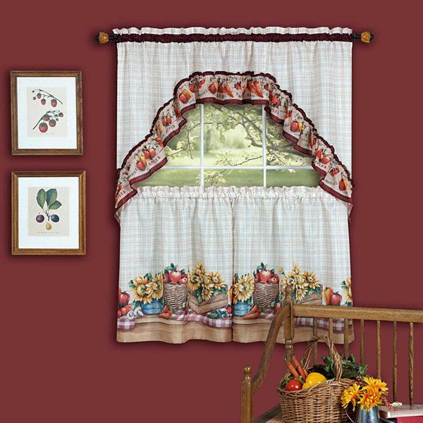 Farmers Market Rod-Pocket Window Tier and Swag Valance Set