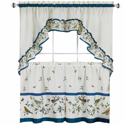 Lovebirds 3-pc Set Rod-Pocket Window Tier and Swag Valance Set