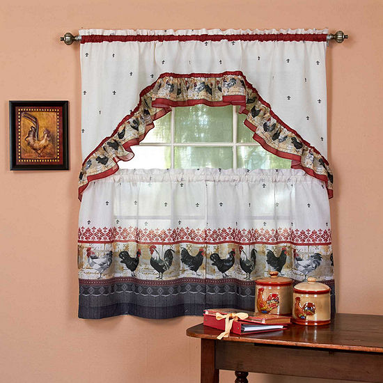 Roosters 3 -pc Rod-Pocket Window Tier and Swag Valance Set