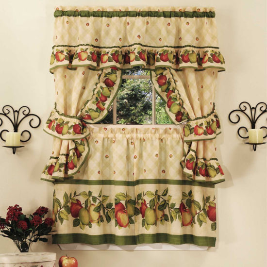 Apple Orchard 3-pc Set Rod-Pocket Window Tier and Ruffled Topper Set