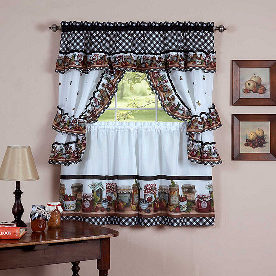 Mason Jars 3-pc Rod -Pocket Window Tier and Tailored Topper Set