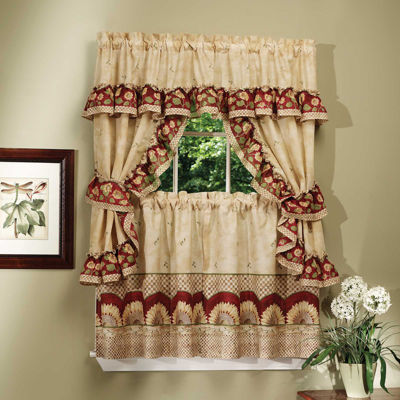 Sunflower Cottage 3-pc Set Rod-Pocket Window Tiers & Ruffled Topper Set