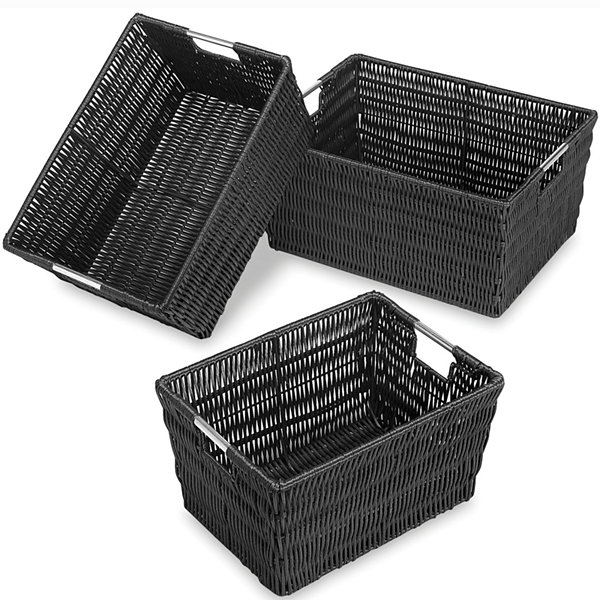 Whitmor Rattique 3-pc. Black Storage Basket Set