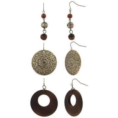 Decree 3 Pair Wood Burnished Gold Earrings