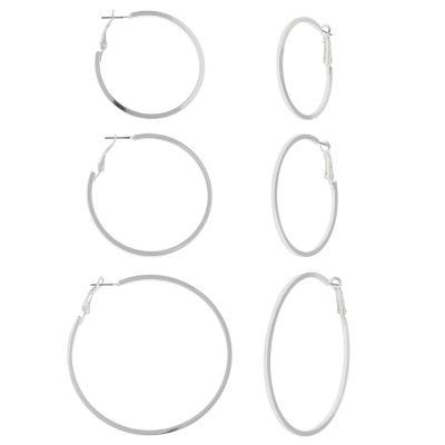 Decree® 3-pr. Square Edge Hoop Earrings Set